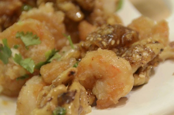 Fried Prawns with Candied Walnuts
