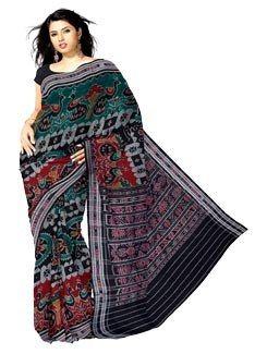 UNM6163- Mesmerizing casual black handloom Bomkai pure cotton saree000