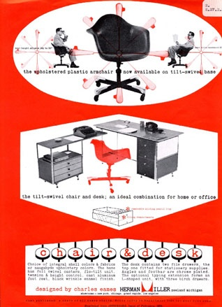 A 1954 ad for the Eames 'Shell' chairs (upholstered) on a swivel base and 'ESU' desk - an early example of Herman Miller's focus on the commercial workplace market