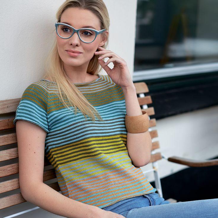 Цветная майка спицами в полоску Colored stripes jersey needles