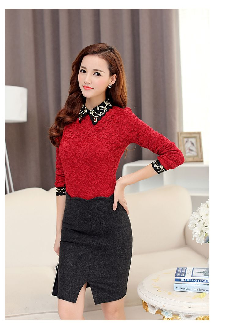 Aliexpress.com: Comprar 2015 recién llegado de otoño mujeres del invierno ropa coreana mujeres elegantes de moda para mujer Plus tamaño de manga larga de encaje blusa Top de ropa de lana confiables proveedores de International Fashion Flagship Shop.