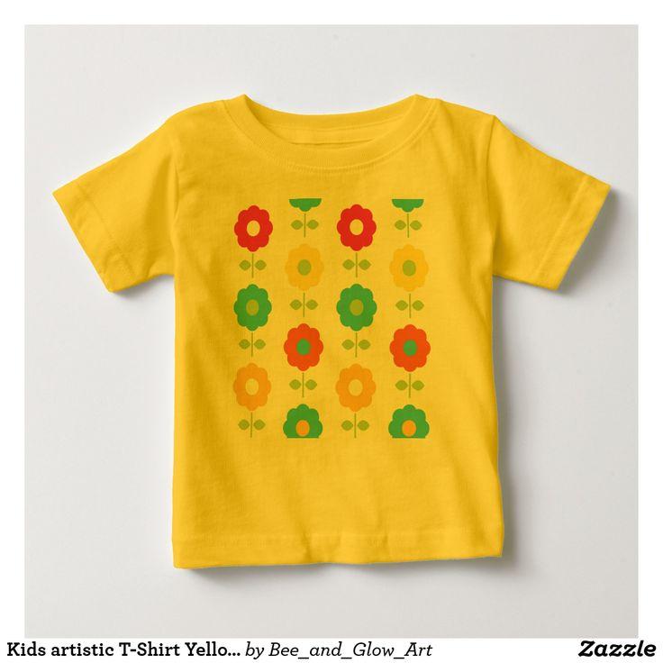 Kids artistic T-Shirt Yellow with Folk flowers