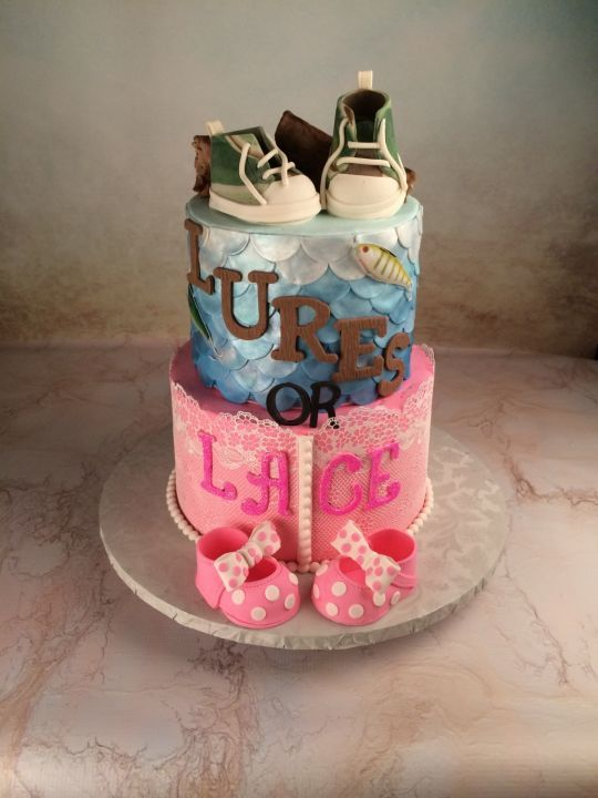 Lures or lace gender reveal pinterest lace and cakes for Fishing gender reveal ideas