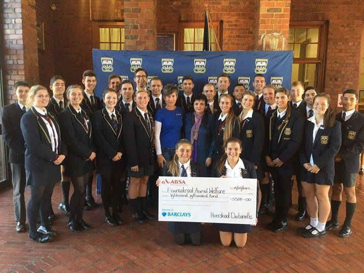 "THANK YOU to the Durbanville High School for this amazing donation! You are all very special young ladies and gentlemen. :-) This makes a huge difference.  (Pictured: the Grade 9 students' council and Mr & Ms Durbie finalists with volunteer (and FAW80 Cycle Challenge organiser) Belinda.  ""DURBIES GEE OM  Die Durbanville gr 9 Graadraad en finaliste van Mnr & Mej Durbie het 'n tjek van R5 500 aan die FAW Fisantekraal Animal Welfare oorhandig.  Op die foto staan Me Van Wyk en Durbie-ouer Mev…"