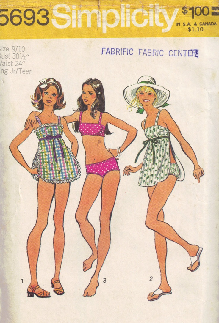 1970's swimsuits with the apron to turn a 2 piece into a 3 piece.