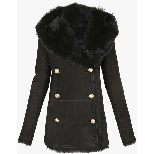 Double-breasted shearling coat | Women's leather coats | Balmain ($3,555) ❤ liked on Polyvore featuring outerwear, coats, balmain coat, double breasted leather coat, leather coat, shearling coat and sheep fur coat