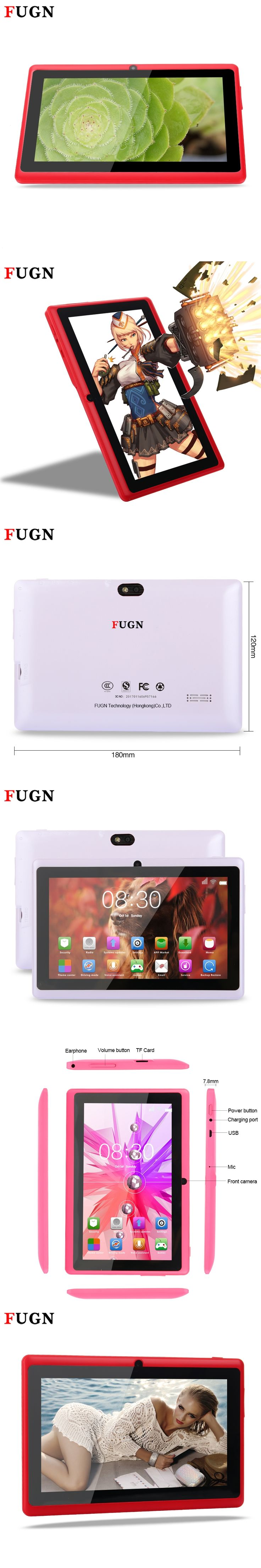 FUGN 7inch Tablet PC Android 5.1 for Kids Quad Core 512MB+16GB Wifi Dual Cameras 3g Phone Call Notebook Tablets with Keyboard 8'