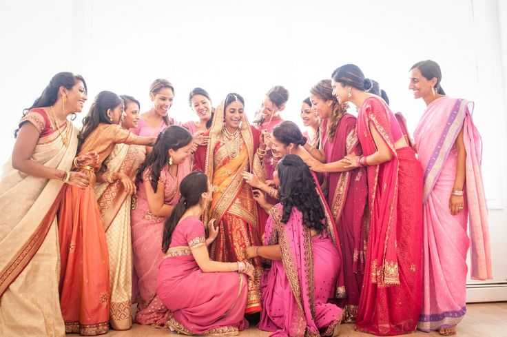 Shades of pink, coral and gold ♥ bridesmaids ♥ Indian ♥ fusion ♥ wedding ♥ saree ♥ sari ♥ menhdi