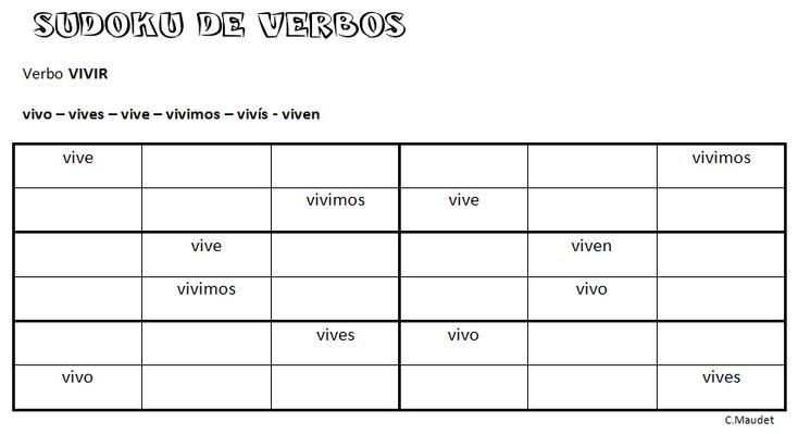 Sudoku de verbos: el verbo VIVIR (jugando se aprende)
