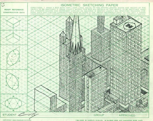 isometric city drawing