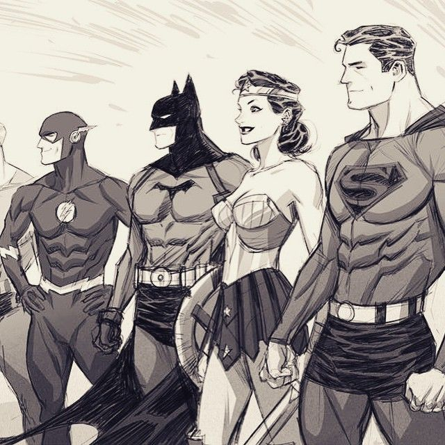 Dan Mora- Golden Age Justice league s Superman, Batman, Flash, Wonder Woman, DC Comics by Dan Mora