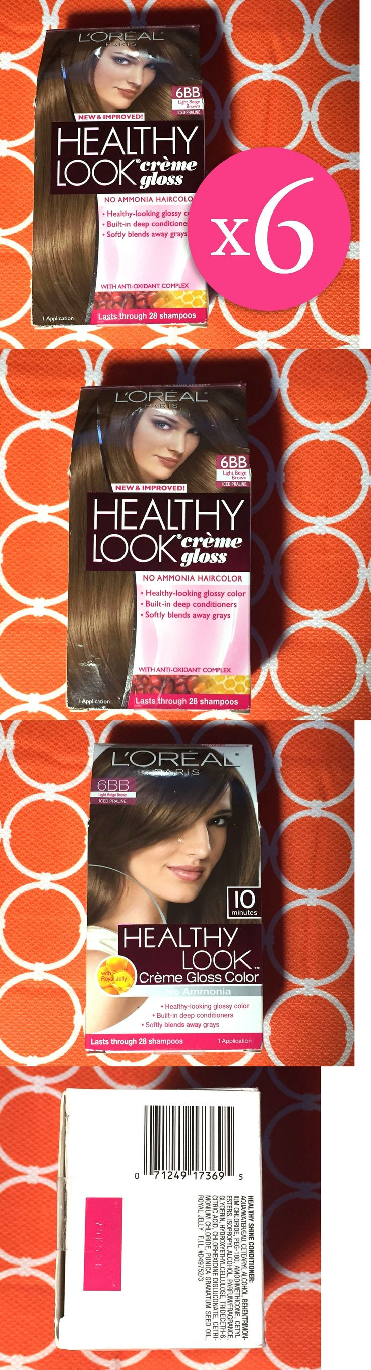 Hair Color: 6 L Oreal Healthy Look Creme Gloss Haircolor #6Bb Light Beige Brown Iced Praline -> BUY IT NOW ONLY: $69.23 on eBay!