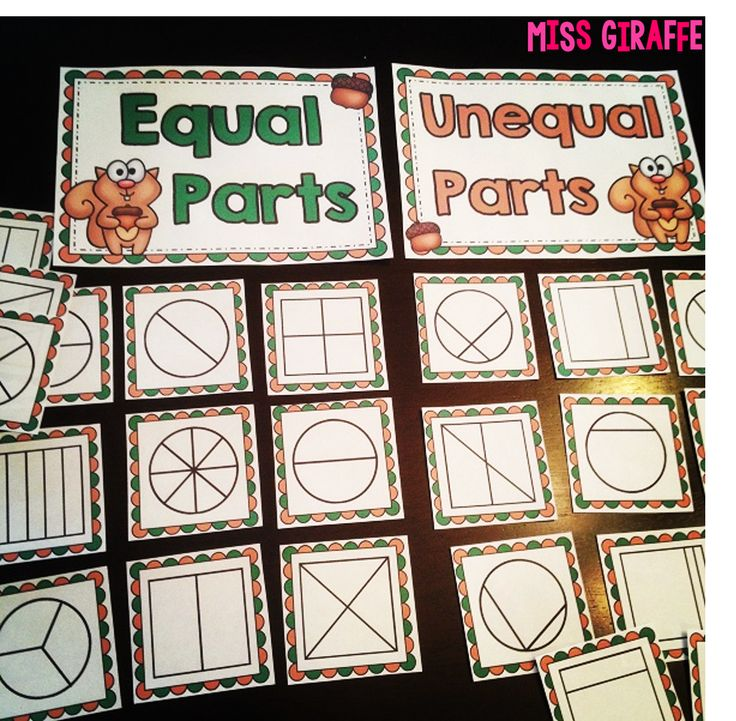 Fractions in First Grade: Practing equal shares by sorting shapes with equal parts and unequal parts