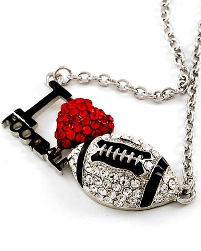 Amazon.com: Silvertone I LOVE FOOTBALL Crystal Pendant Necklace Fashion Jewelry: Jewelry