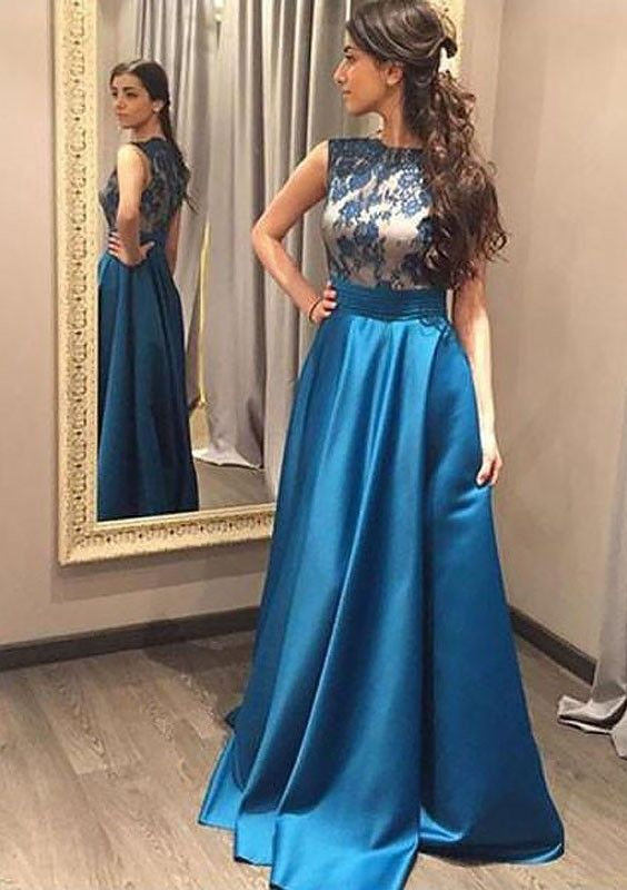 8b198e05c33268 elegant blue satin prom dress with lace appliques, fashion bateau blue satin  party dress with lace appliques