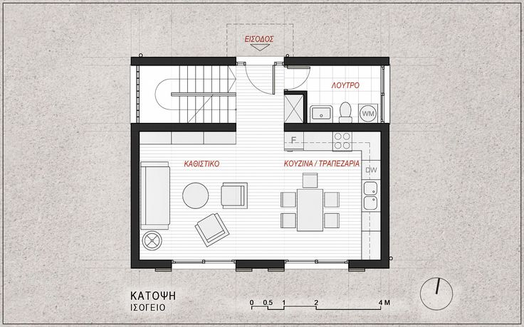 Standardised One-Family House Prototype 130 sqm, Ground Floor Plan - www.pzarch.gr