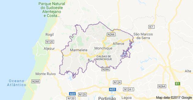 Map of Monchique, Portugal