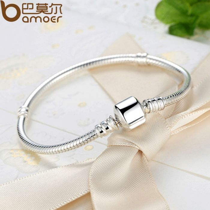 925-Sterling-Silver-Snake-Chain-Bangle-Bracelet-Luxury-Jewelry-PAS902