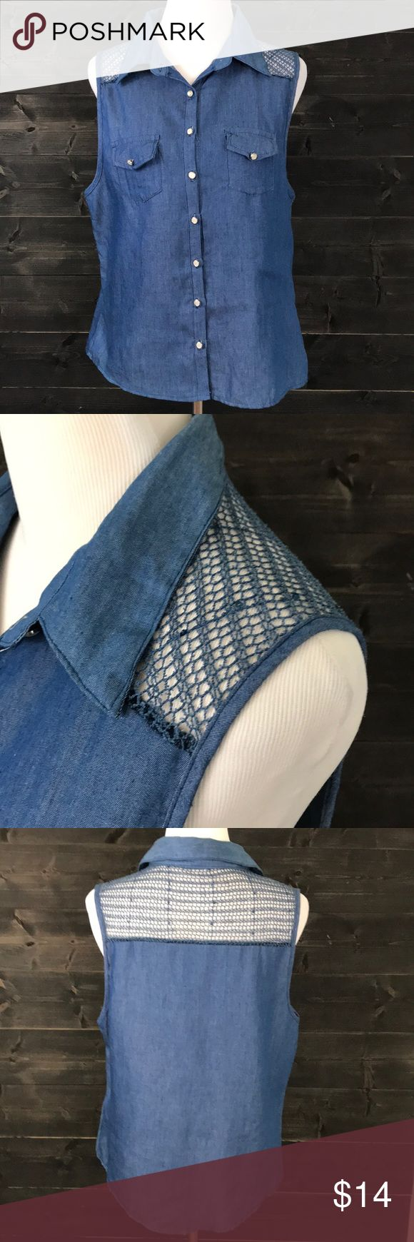 • ANGELUS • • Sleeveless Denim Shirt • Button Up • Mesh Shoulders with Sequins • Excellent Used Condition  • Offers Welcomed Angelus Tops