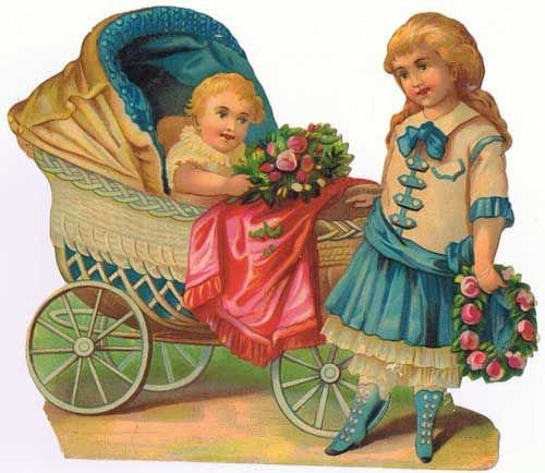 Antiques from the web Large Victorian Scrapbook Diecut Baby Carriage: Antiques from the web Large Victorian Scrapbook Diecut Baby Carriage