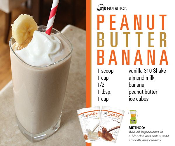 JWOWW - Peanut Butter Banana Shake 310 nutrition (jennie's baby weight loss diet)