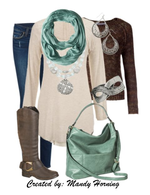 feat. Premier Designs jewelry  #pdstyle white ls tee, brown cardigan, mint scarf, mint bag, brown boots