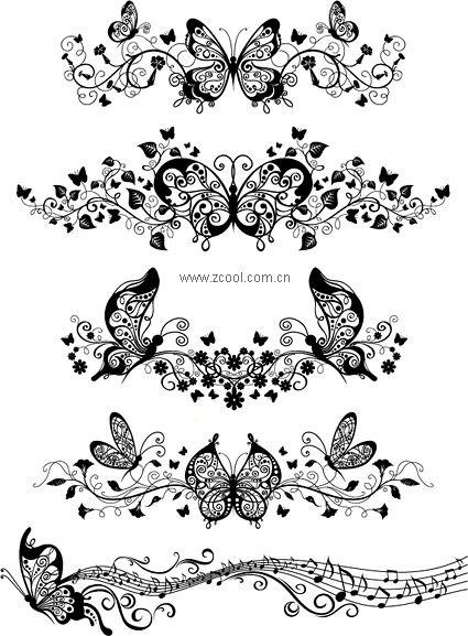 Beau papillon vecteur matériel motif