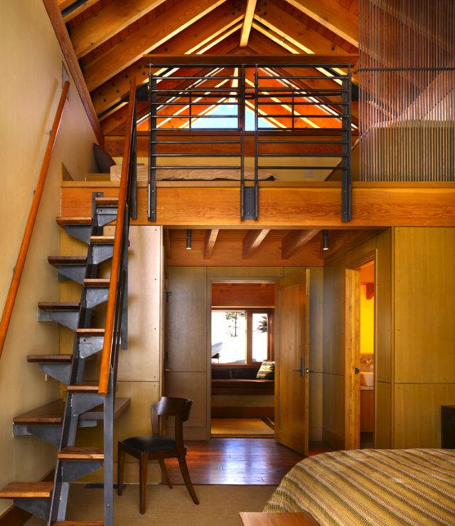 Alternating tread stairs leading to large, open loft