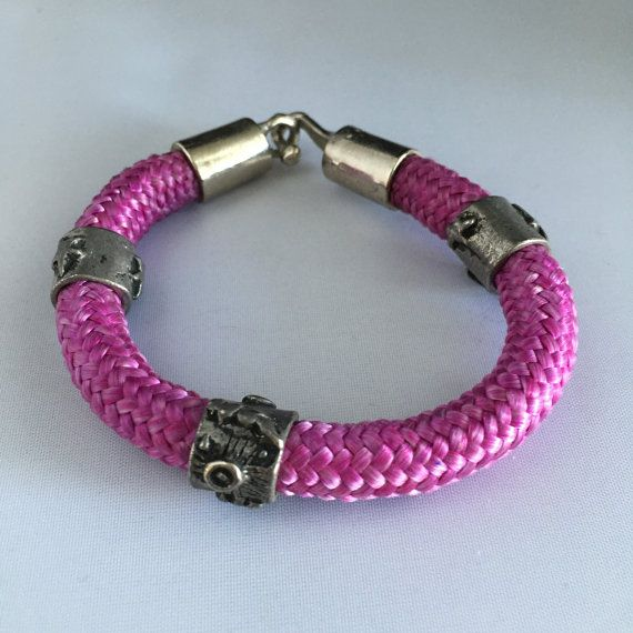 Purple Rope Bracelet with heavy pewter metal clasp - Hand made heavy rope in beautiful vintage condition.