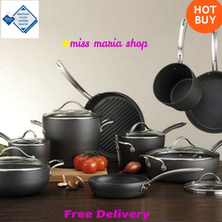 15 Pc Hard Anodized Cookware Set Kirkland Signature Pan Set Aluminum Non Stick