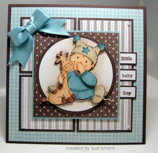 I made this special card for my brand new grandson! Stamps: Image from Eline Pellinkhof, Sentiment retired set from Stampin Up - Flexible Phrases (I think) Cardstock: retired DP from SU! Parisian Breeze Specialty----my fave paper of all time...sure wish I had more, Parisian Breeze and Choc Chip :( Ink: Colored with copics, Chocolate Chip for sentiment Misc: Circle Nesties, Parisian Breeze satin ribbon from SU!, kaiser pearls, You can read more about it here…