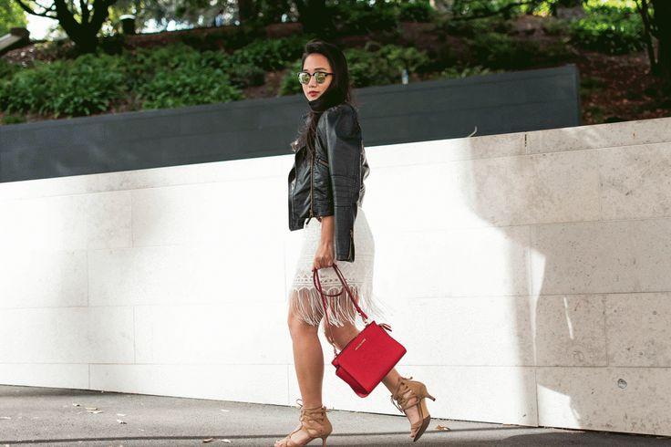Leather Jacket+Lace White Dress style fashion ootd