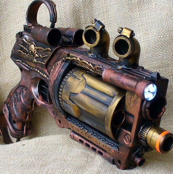 Steampunk Gun Nerf Maverick N-Strike Victorian Gothic.... Am I reading this right... this is a NERF gun??? AWESOME!