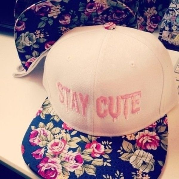 Hat snapback caps cute flowers rose pink girly floral for Cool girly stuff