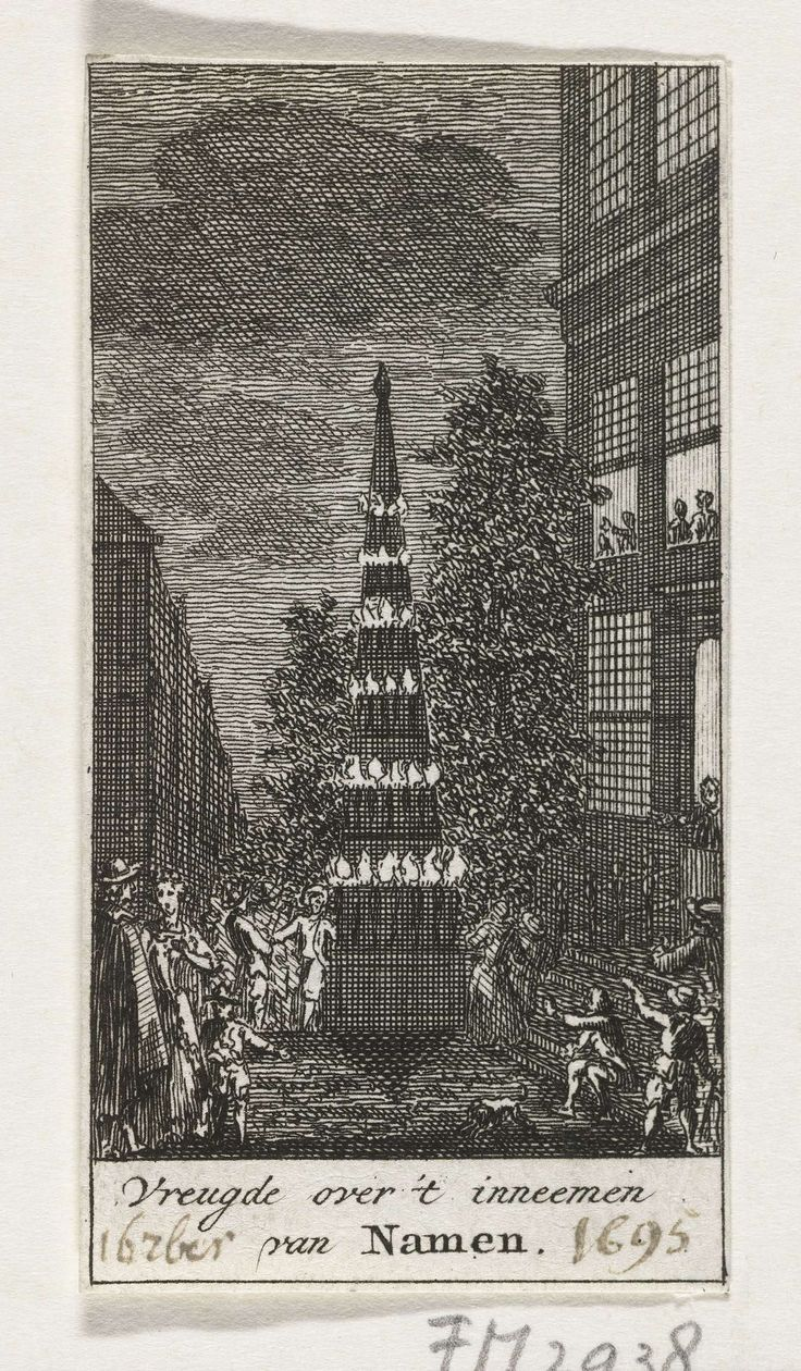 anoniem | Vreugdevuur bij de viering van de inname van Namen, 1695, attributed to Simon Fokke, 1779 - 1781 | Vreugdevuur bij de viering van de inname van Namen op 5 september 1695 door de geallieerden onder Willem III. Stellage met brandende pektonnen.