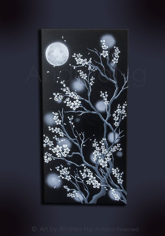 [ A Winds Whisper ] White Cherry Blossoms under the Moon Original Acrylic Painting