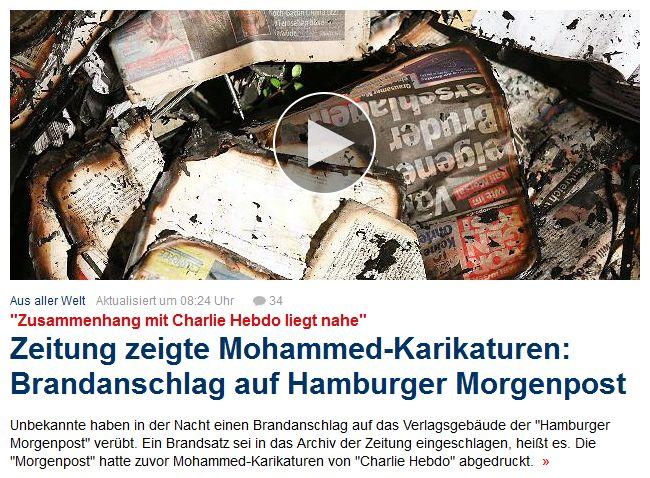 "Silly, radical Islam, many fight s. t. Muslims welcome worldwide, but U ruin it by fire+terrors+++, or others did it, s. t. Muslims not welcome ?! Nach Mohammed-Karikaturen: Brandanschlag auf ""Hamburger Morgenpost"" http://www.spiegel.de/panorama/unbekannte-verueben-brandanschlag-auf-hamburger-morgenpost-a-1012368.html http://www.bild.de/news/inland/hamburger-morgenpost/brandanschlag-auf-gebaeude-39286314.bild.html"