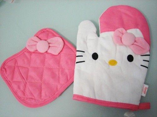 Hello Kitty Kitchen Oven Mitts Heat Pad Pink | eBay 13$