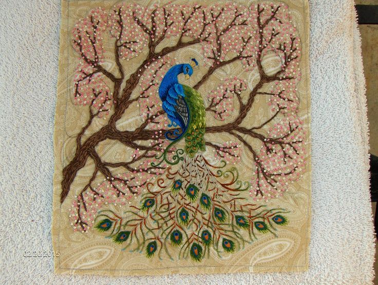 This Peacock Was Taken From A Secret Garden Coloring Book And Modified To Make It Embroidery Friendly Then I Set In Cherry Tree Bloom