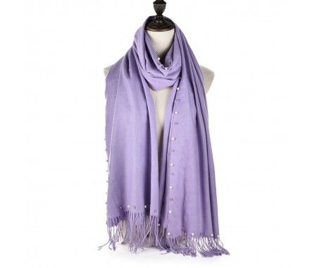 Cashmere Violet Supersoft Pearls And Tassels Scarf
