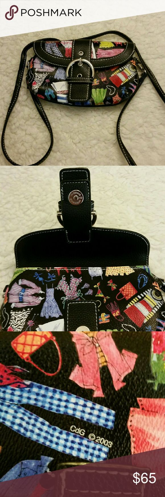 ❤❤❤Sydney Love ❤❤❤ Cross Body Hand bag If you are looking for a small eclectic looking Cross Body . Then this is your bag. Never used with a gorgeous pattern of dresses snap front with a faux buckle on front.  Perfect for carrying cell phone lipstick and credit cards. Sydney Love  Bags Shoulder Bags