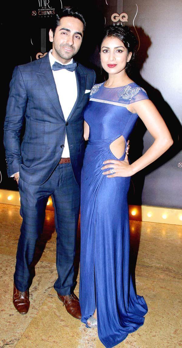 Ayushmann Khurrana with Pallavi Sharda at GQ Men's Awards 2014