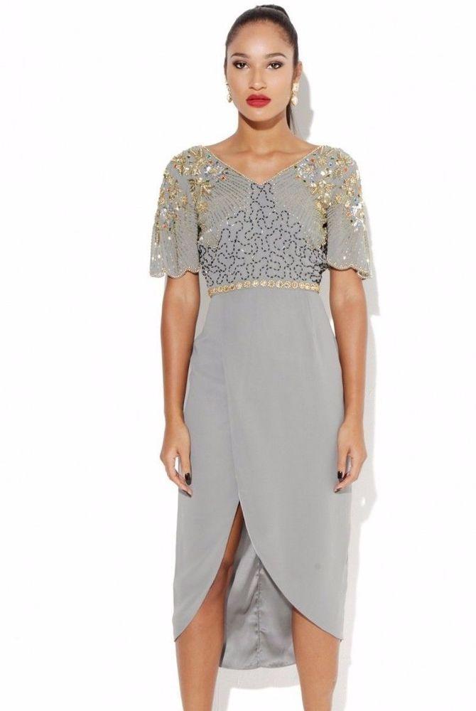 Virgos Lounge Caz Wine Ruched Drop Off Shoulder Wedding Midi Party Dress 10 38