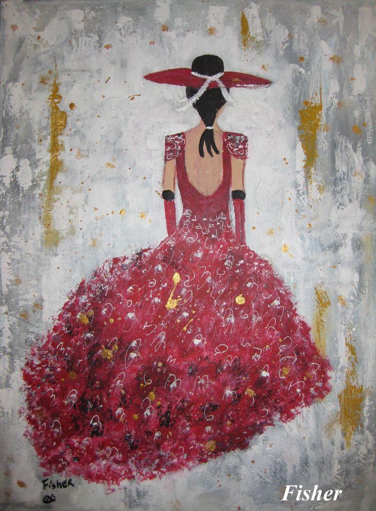 Mes Femmes mode Acrylique 24 x 18 par Louise Fisher Sanscartier