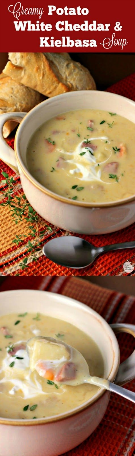 Creamy Potato, White Cheddar, and Kielbasa Soup | by Renee's Kitchen Adventures - msg 4 21+ Easy, hearty soup recipe perfect for the cooler weather!  A taste of old world Oktoberfest #OktoberontheFarm ad