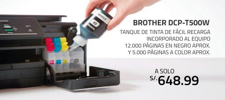 Impresora Multifuncional Brother Tinta Continua WiFi DCP-T500W - Multifuncional a color de inyección a tinta. - Impresión desde dispositivos móviles - Facil configuración e instalación Wi-Fi - Copia, imprime, faxea y escanea. - Bandeja de papel para 100 hojas.