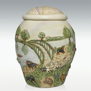 Dog Rainbow Bridge II - Pet Cremation Urn is a unique urn for dogs made from a combination of crushed marble mixed with resin.