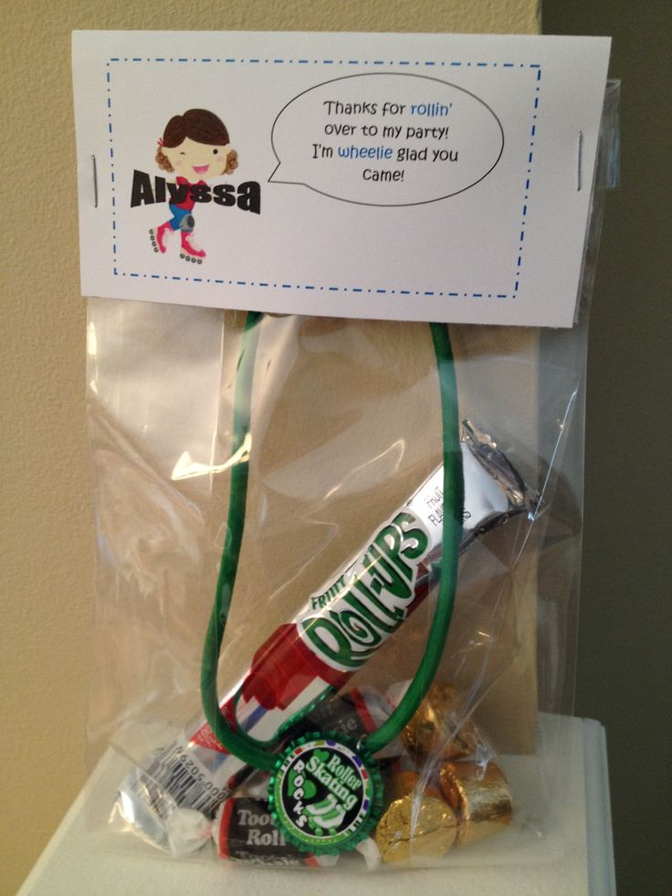 Roller Sk8 Party favors: roller skate necklace from sassygraceboutique on Etsy, Rolos, Tootsie Rolls, Fruit Roll-Up