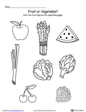 Color the Fruits and Vegetables Fruits, vegetables