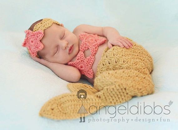 Crochet+Mermaid+Gold+and+Pink+Coral+Baby+Girl+ outfit costume photo prop by+BlackberryCrochet,+$44.99